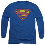 Long Sleeve: Superman - Retro Supes Logo Distressed T-Shirt