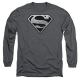 Long Sleeve: Superman - Super Metallic Shield T-shirts