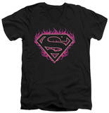 Superman - Fuchsia Flames V-Neck T-Shirt