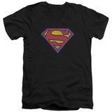 Superman - Superman Neon Distress Logo V-Neck T-Shirt