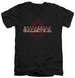 Battlestar Galactica - Logo With Phoenix V-Neck T-Shirts