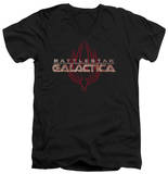 Battlestar Galactica - Logo With Phoenix V-Neck Shirts