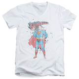 Superman - Vintage Ink Splatter V-Neck V-Necks