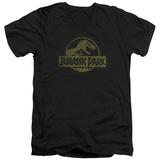 Jurassic Park - Distressed Logo V-Neck T-shirts