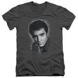 Elvis Presley - Grey Portrait V-Neck T-Shirt