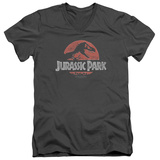 Jurassic Park - Faded Logo V-Neck Shirt