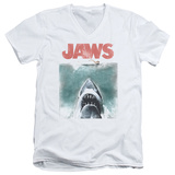 Jaws - Vintage Poster V-Neck Shirt