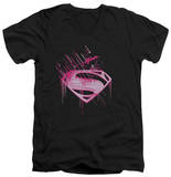 Man Of Steel - Pink Splatter V-Neck T-Shirt