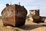 Boats in Desert around Moynaq, Muynak or Moynoq - Aral Sea or Aral Lake - Uzbekistan - Asia Photo by Daniel Prudek