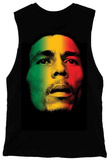 Juniors Tank Top: Bob Marley - Rasta Face Muscle Shirts