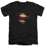 Man Of Steel - Grungy Shield V-Neck T-shirts