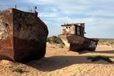 Boats in Desert around Moynaq, Muynak or Moynoq - Aral Sea or Aral Lake - Uzbekistan - Asia Prints by Daniel Prudek