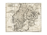 Map of Denmark, Norway, Sweden and Finland Giclee Print