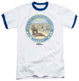 Parks & Recreation - Distressed Pawnee Seal Ringer T-Shirt