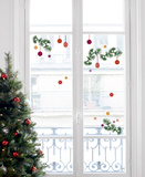 Christmas Tree Branch And Decorations Window Stickers Window Decal