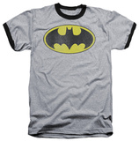 Batman - Retro Bat Logo Distressed Ringer T-shirts