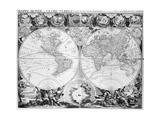 Two Hemisphere World Map Giclee Print
