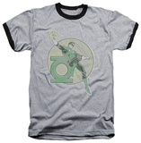Green Lantern - Retro Lantern Iron On Ringer T-Shirt