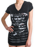 Juniors: Sons of Anarchy - Layered Laser Cut Cover Up - T shirt