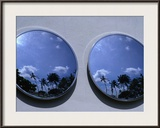A Mirrored View of Palms in the South Beach Art-Deco District, Miami, Florida, USA Framed Photographic Print by Lawrence Worcester