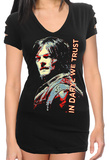Juniors: The Walking Dead - In Daryl We Trust Slashed Short Sleeve Cover Up T-Shirt