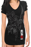 Juniors: Sons of Anarchy - Sickle Reaper Slashed Short Sleeve Cover Up Shirts