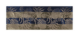 Embroidered Silk, with Roses on Blue and Gold Premium Giclee Print by  Oriental School