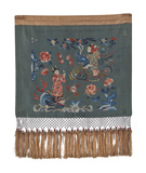 Embroidered Silk Fringed Panel with Figures Premium Giclee Print by  Oriental School