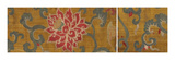 Embroidered Silk, with Red Lotus Flower and Leaves Premium Giclee Print by  Oriental School