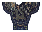 Embroidered Silk Robe with Blue Dragons Premium Giclee Print