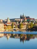 View of Charles Bridge over Vltava River and Gradchany (Prague Castle) and St. Vitus Cathedral Posters by  f9photos