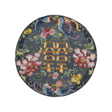 Embroidered Silk, with Double Happiness Roundal Premium Giclee Print by  Oriental School