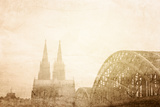 Retro Style View of Gothic Cathedral in Cologne, Germany Print by  ilolab