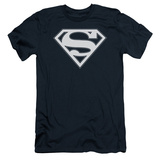 Superman - Navy & White Shield (slim fit) T-Shirt