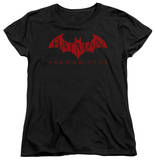 Womens: Batman Arkham City - Red Bat T-Shirt