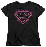 Womens: Superman - Fuchsia Flames T-shirts