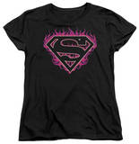 Womens: Superman - Fuchsia Flames T-Shirt