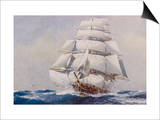 Clipper Under Full Sail Prints by J. Spurling