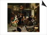 The Dissolute Household, 1668 Poster by Jan Havicksz. Steen