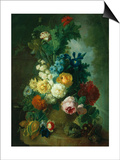 Still Life of Roses and Delphiniums Poster by Georgius Jacobus J. van Os