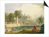 "View of Sassoor in the Deccan, from Volume II of ""Scenery, Costumes and Architecture of India"" Poster by Captain Robert M. Grindlay"