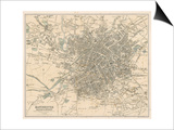 Map of Manchester and Its Environs Prints by J. Bartholomew