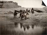 Navajo On Horseback, C1904 Art by Edward S. Curtis