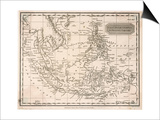 Map of the East India Islands Including the Philippines the Celebes Papua New Guinea Sumatra Prints by A. Findlay