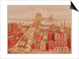 Brooklyn Bridge, circa 1883 Prints by R. Schwarz