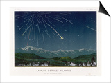 """Shooting Stars"", The Meteorite Shower of November 1872 Seen Over Hills Posters by E. Guillemin"