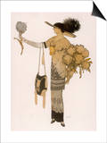 Silhouette of 1911: High Waisted Tunic Dress with Hobble Skirt and a V-Necked Corsage Prints by J. Gose