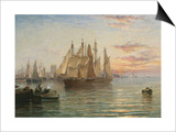 Shipping Below Hull, Evening Print by Arthur J. Meadows