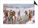 An Exciting Finish to a Curling Match in Scotland Prints by J. Michael