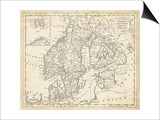Map of Sweden and Denmark Prints by T. Jeffreys